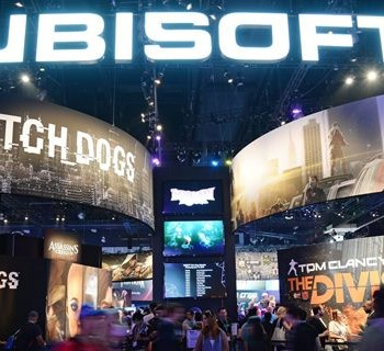 """WITH AFP STORY BY MICHAEL THURSTON: ENTERTAINMENT-US-SECURITY-INTELLIGENCE-GAMESThe Ubisoft display at the Electronic Entertainment Expo (E3) in Los Angeles, California, June 12, 2013.  The video game """"Watch Dogs"""" by Ubisoft, whose protagonist controls the world around him by hacking into computer systems, is generating growing buzz for its eerie parallels with the current storm about US surveillance of private citizens.  AFP PHOTO / ROBYN BECK        (Photo credit should read ROBYN BECK/AFP/Getty Images)"""