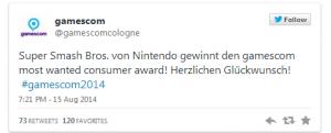 Super Smash Bros. Wins Gamescom Most Wanted Consumer Award   DualShockers