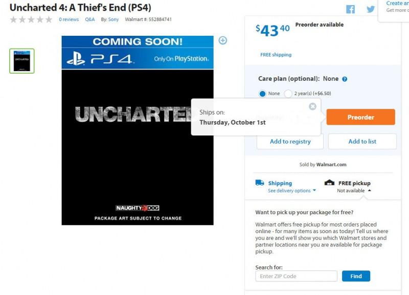 Walmart Uncharted 4 22-01