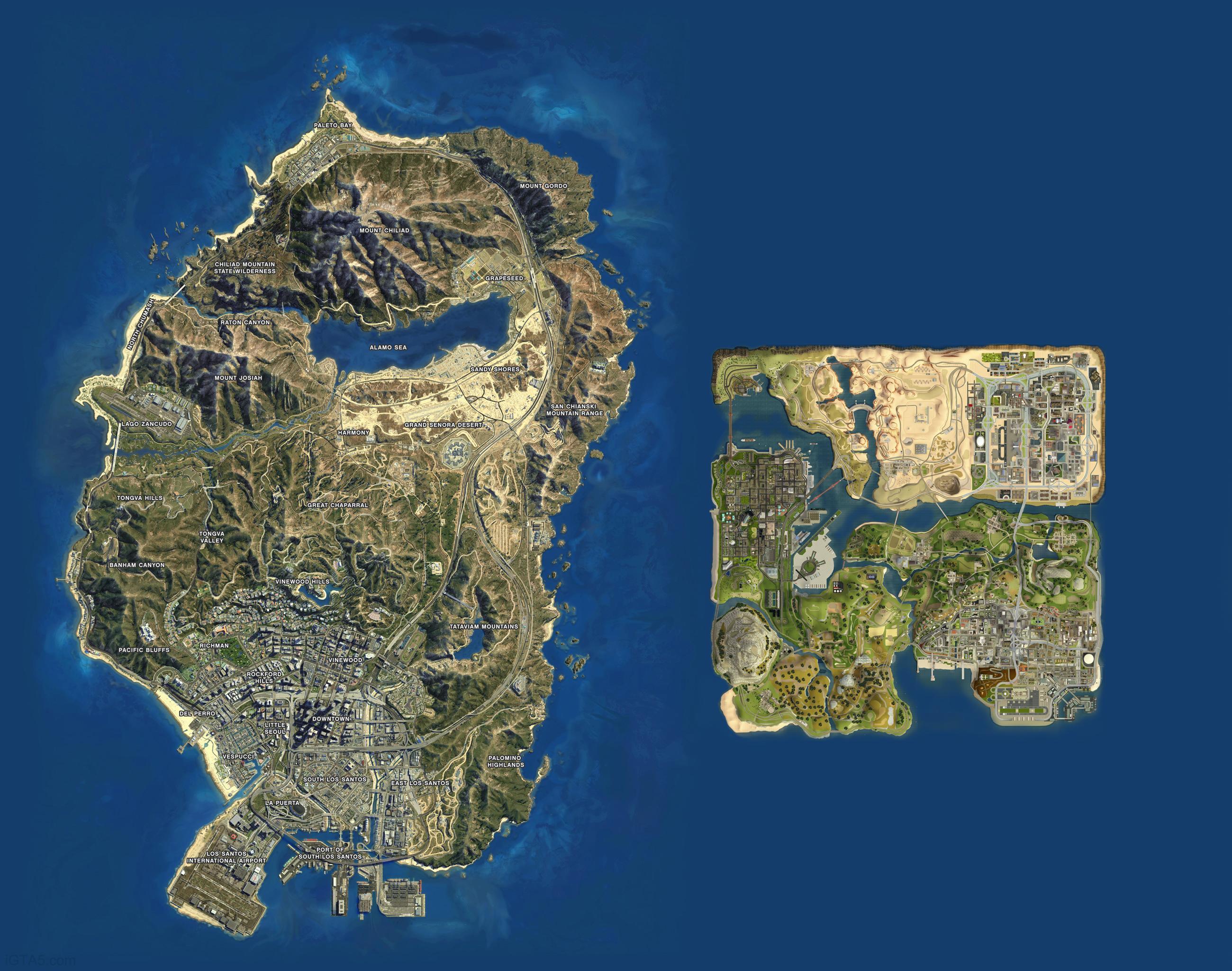 Gta V Elicottero Mappa : Gta mappa del gioco a confronto con quella di san
