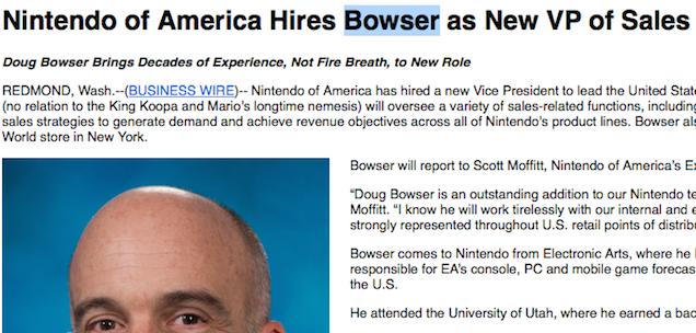 nintendo of america VP vendite bowser