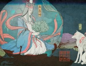 himiko the princess and amaterasu meet a print for okami