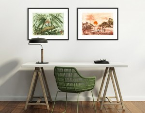 okami prints over a desk