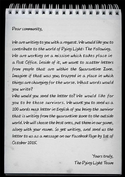 dying light techland facebook lettera