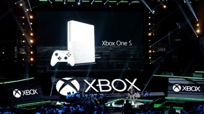 LOS ANGELES, CA - JUNE 13: Phil Spencer, head of Xbox, announces the new Microsoft Xbox One S game console during the Microsoft Xbox news conference at the Galen Center during E3 Gaming Conference on June 13, 2016 in Los Angeles, California. The One S is slated to launch in August. (Photo by Kevork Djansezian/Getty Images)