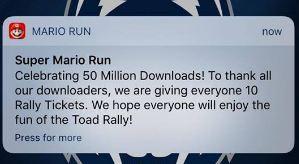 super mario run 50 milioni download