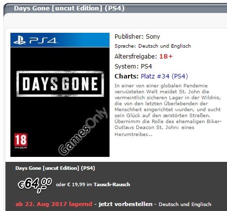 Days Gone sarà pubblicato il 22 agosto, secondo un rivenditore australiano