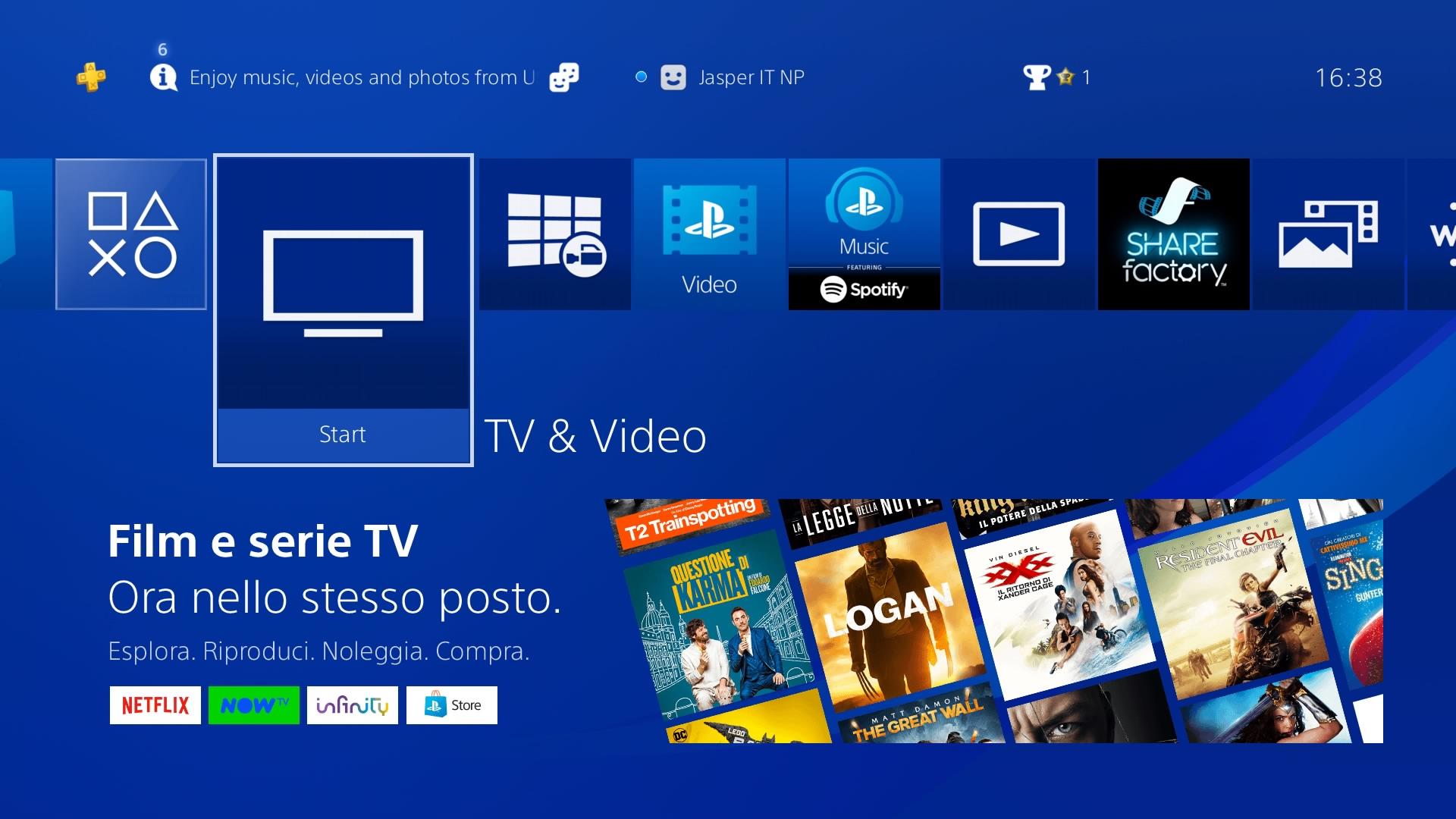 PlayStation 4: una nuova interfaccia per accedere a video e servizi TV