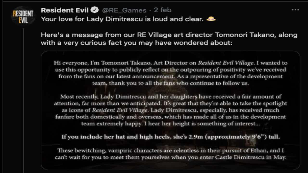 Resident Evil Village altezza Lady Dimitrescu