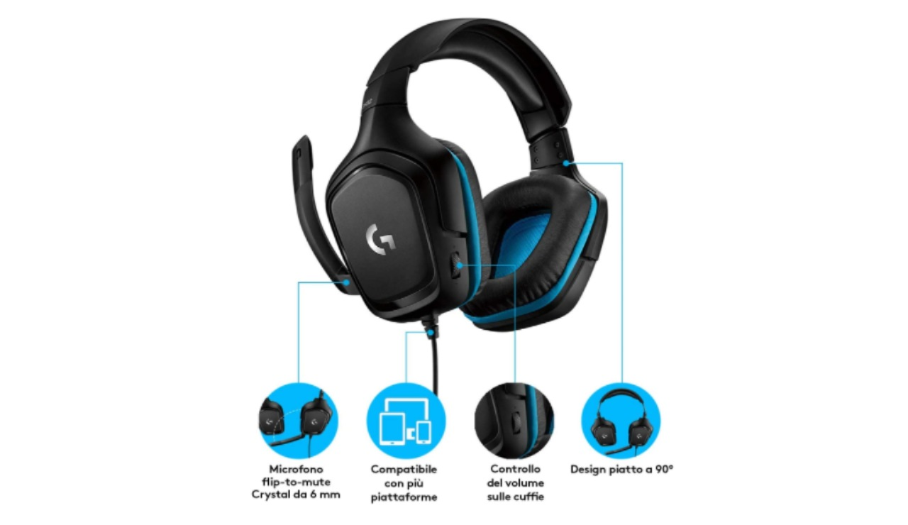 cuffie gaming cablate Logitech G432 Amazon