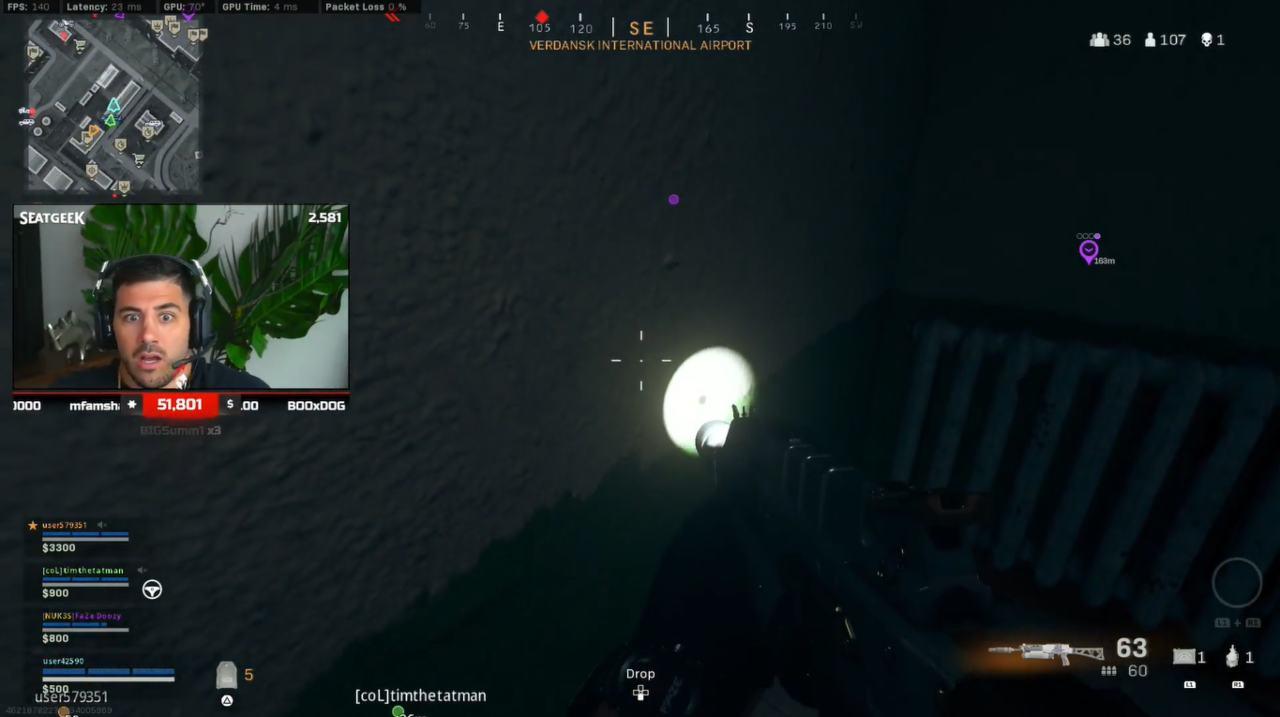 Fulmine colpisce giocatore CoD Warzone